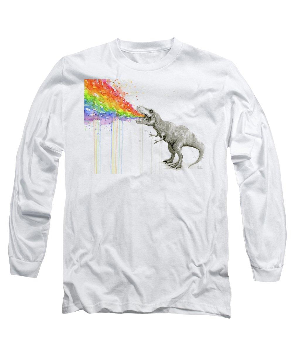 T-rex Long Sleeve T-Shirt featuring the painting T-rex Tastes The Rainbow by Olga Shvartsur