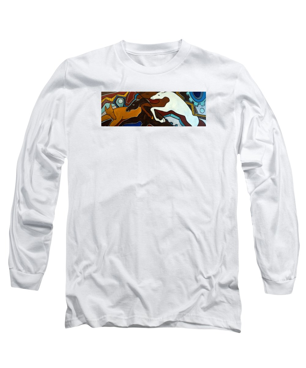 Horse Abstract Long Sleeve T-Shirt featuring the painting Taffy Horses by Valerie Vescovi