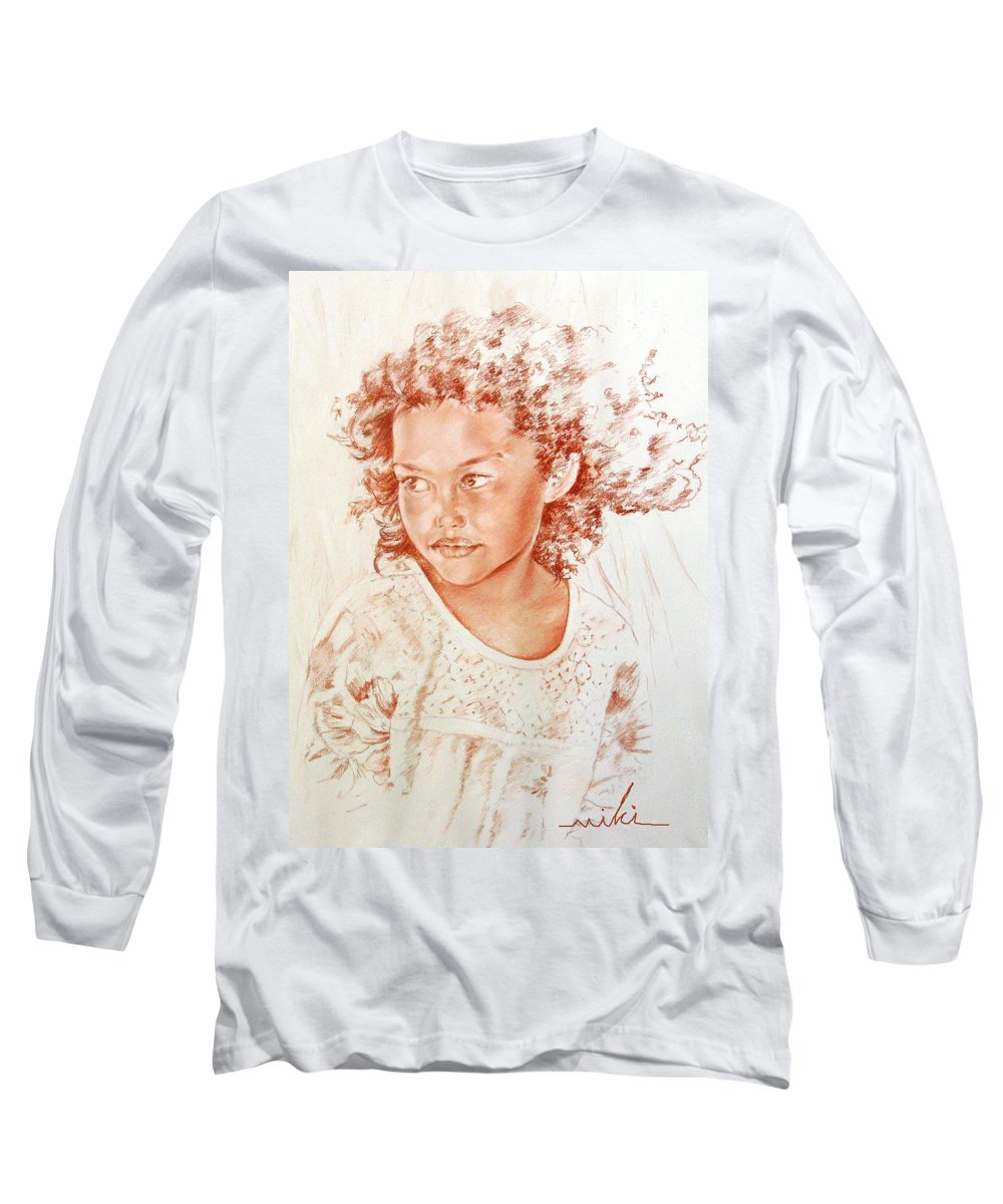 Drawing Persons Long Sleeve T-Shirt featuring the painting Tahitian Girl by Miki De Goodaboom