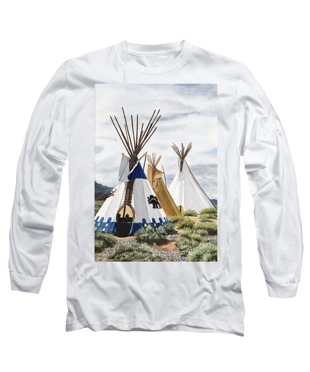 Art Long Sleeve T-Shirt featuring the painting Taos by Mary Rogers