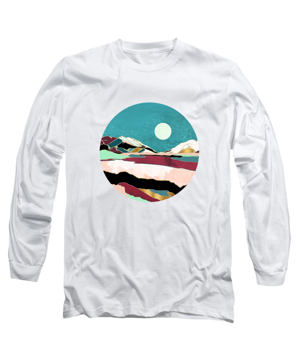 Teal Long Sleeve T-Shirt featuring the digital art Teal Sky by Spacefrog Designs