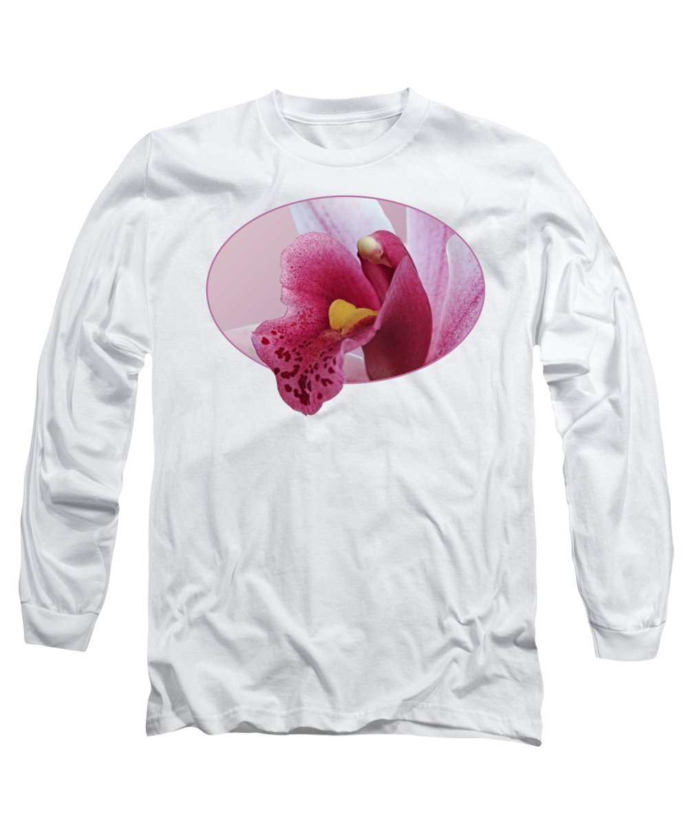 Pink Orchid Long Sleeve T-Shirt featuring the photograph Temptation - Pink Cymbidium Orchid by Gill Billington