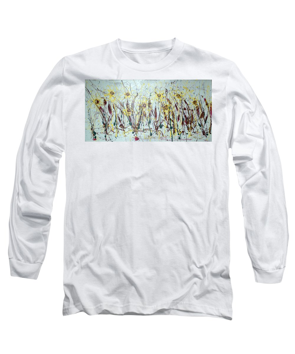 Flowers Long Sleeve T-Shirt featuring the painting Tending My Garden by J R Seymour