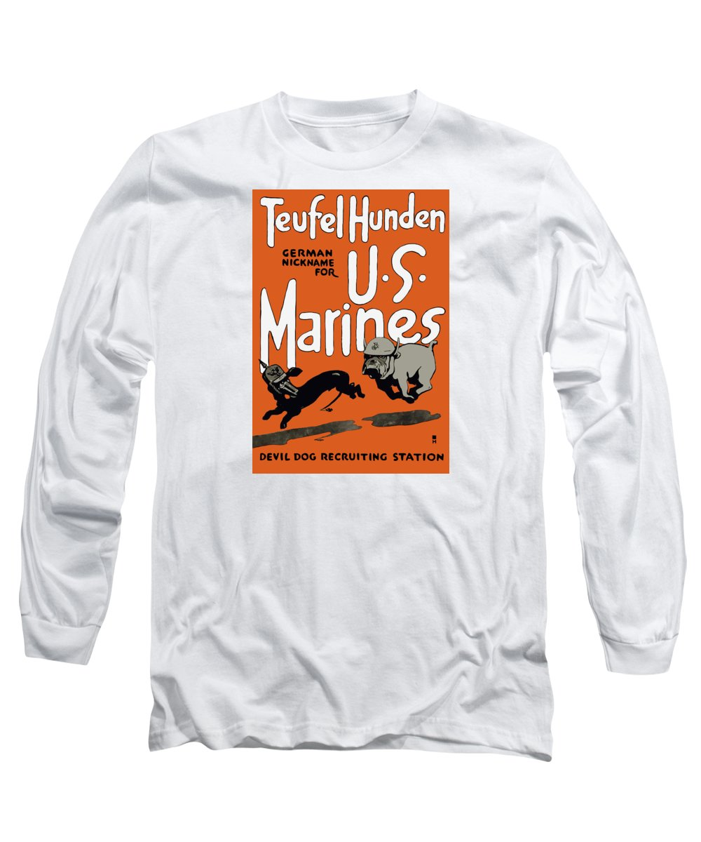 Marine Corps Long Sleeve T-Shirt featuring the painting Teufel Hunden - German Nickname For Us Marines by War Is Hell Store