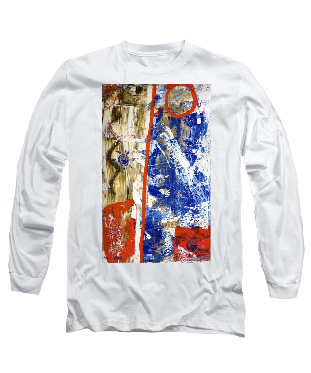 Abstract Long Sleeve T-Shirt featuring the painting The 4th by Wayne Potrafka