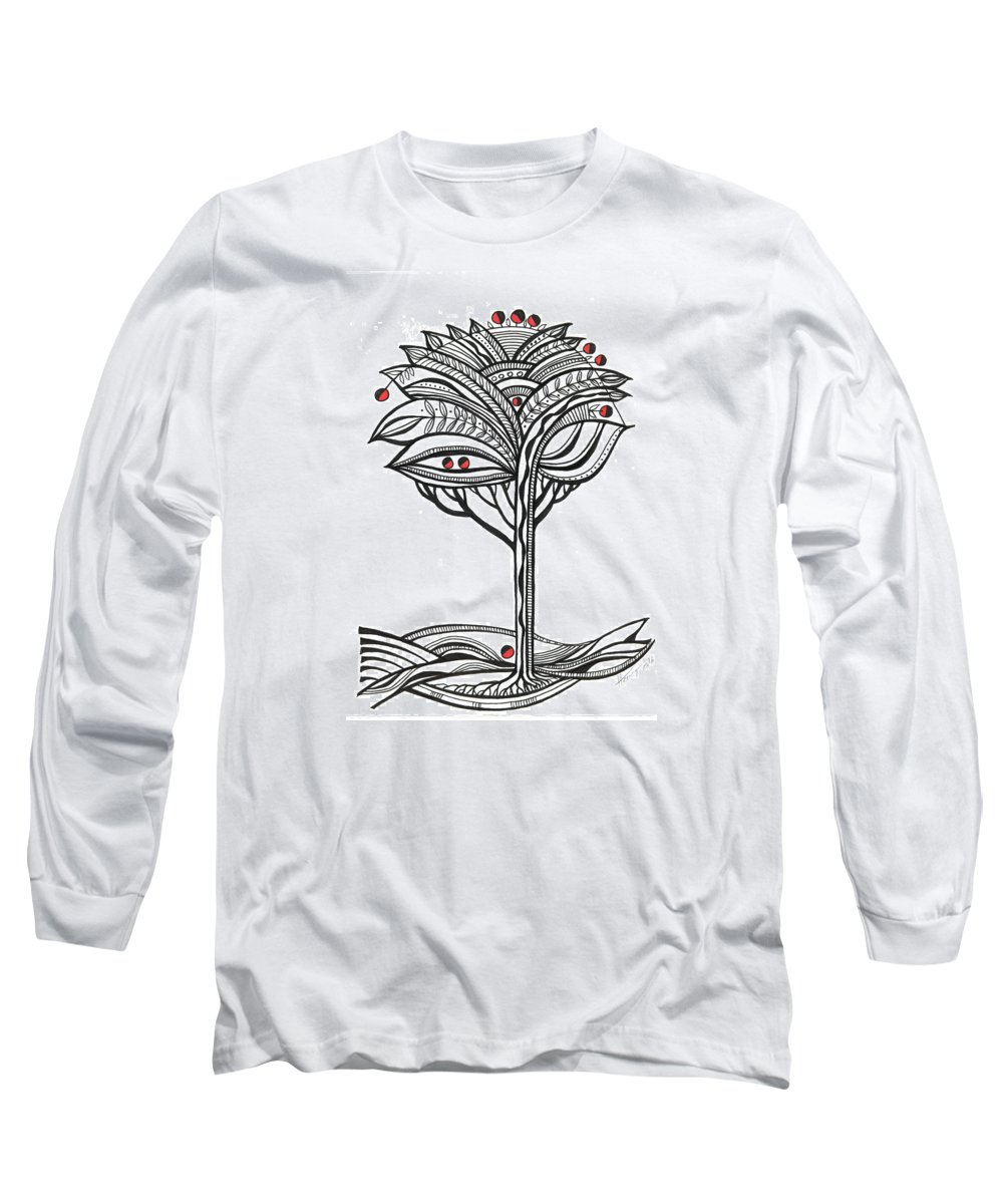 Abstract Long Sleeve T-Shirt featuring the drawing The Apple Tree by Aniko Hencz