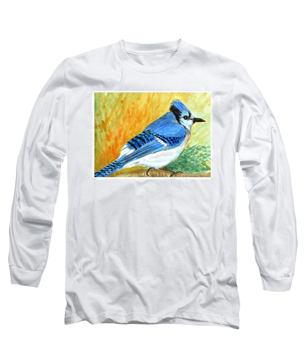 Bird Long Sleeve T-Shirt featuring the painting The Blue Jay by Asha Sudhaker Shenoy