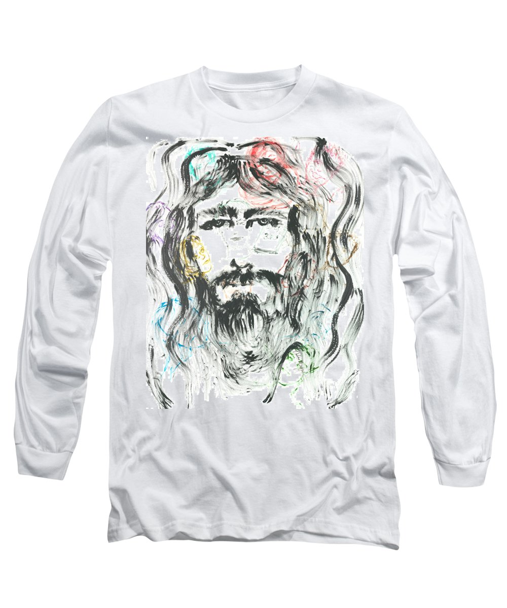 Jesus Long Sleeve T-Shirt featuring the painting The Emotions Of Jesus by Nadine Rippelmeyer