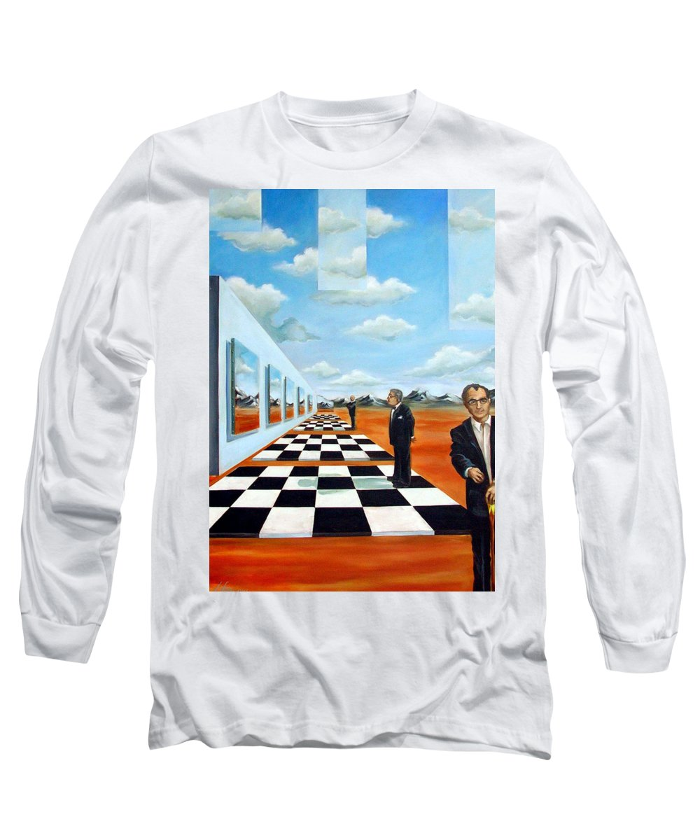 Surreal Long Sleeve T-Shirt featuring the painting The Gallery by Valerie Vescovi