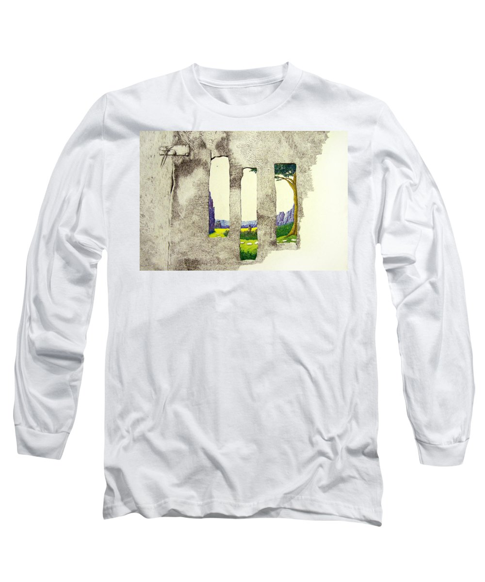 Imaginary Landscape. Long Sleeve T-Shirt featuring the painting The Garden by A Robert Malcom