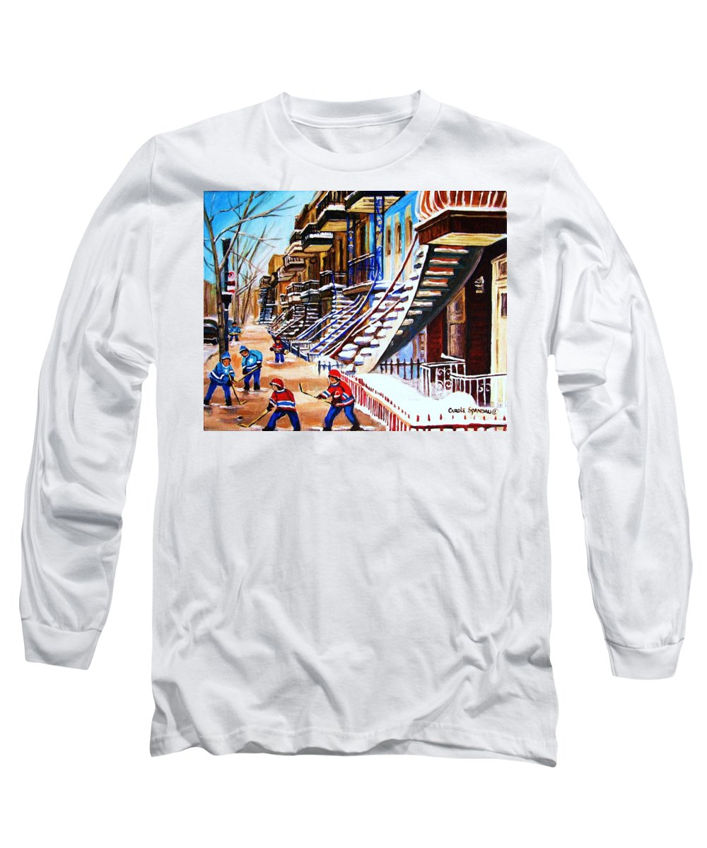Hockey Long Sleeve T-Shirt featuring the painting The Gray Staircase by Carole Spandau
