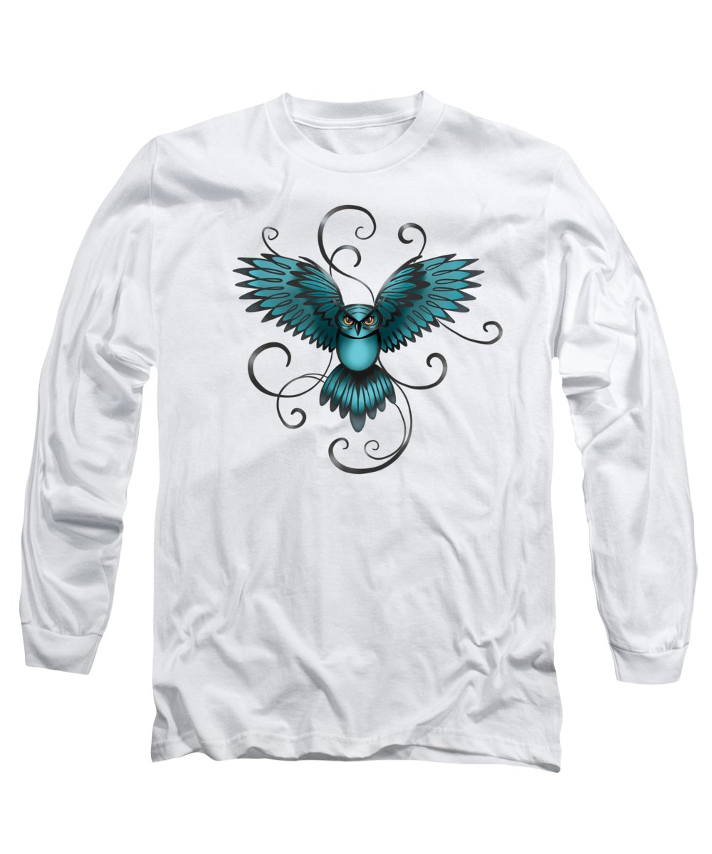 Great Horned Owl Long Sleeve T-Shirt featuring the painting The Great Night Owl Of Kilmartin by Little Bunny Sunshine