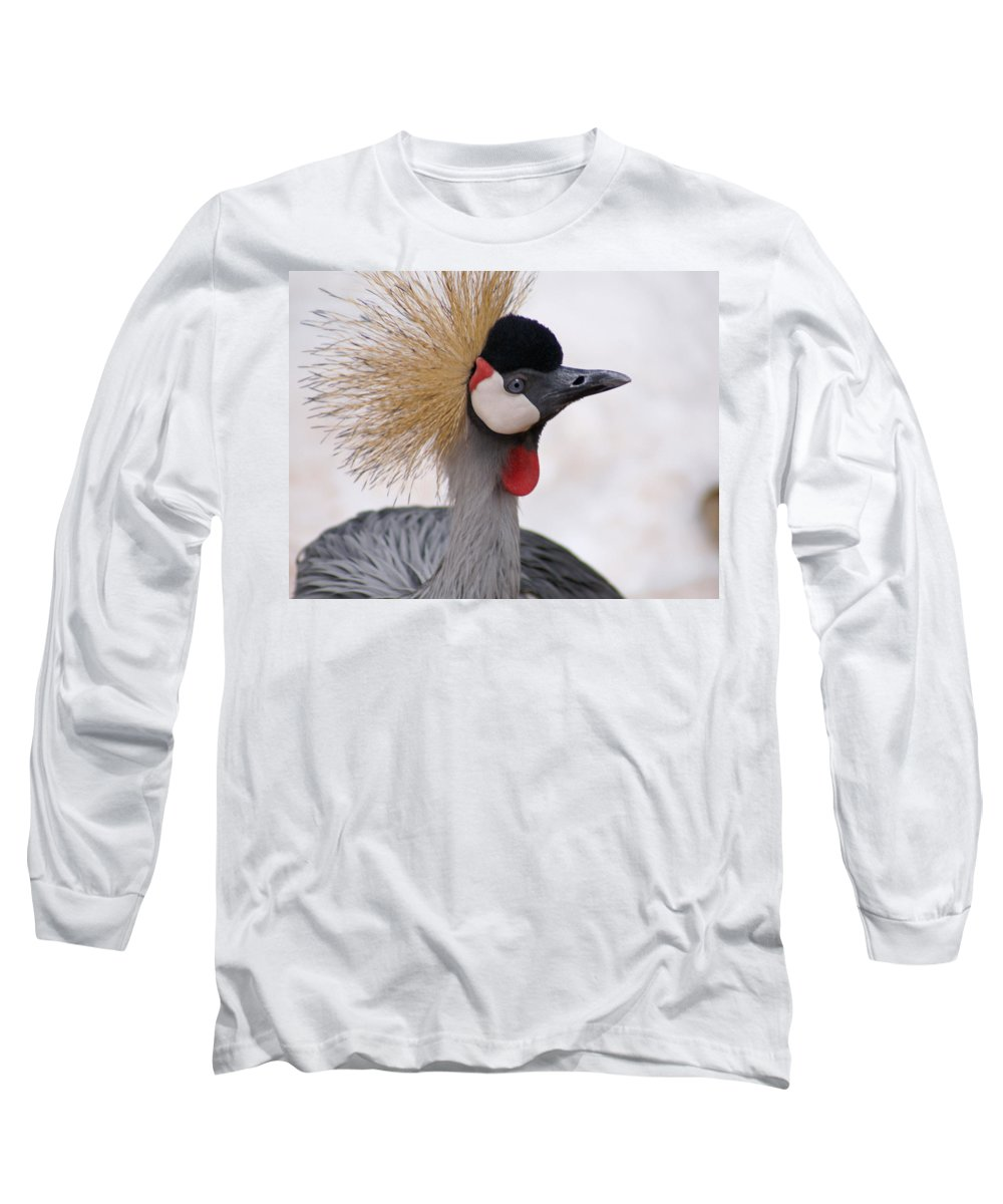 Crane Long Sleeve T-Shirt featuring the photograph The Headress Crowned Crane by Heather Coen