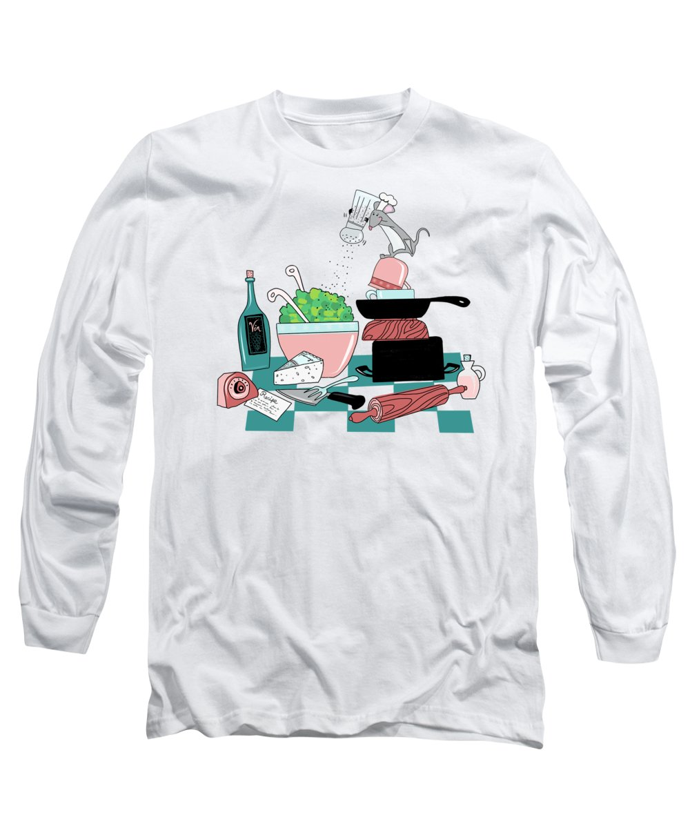 Cute Long Sleeve T-Shirt featuring the painting The Hungry Mouse by Little Bunny Sunshine