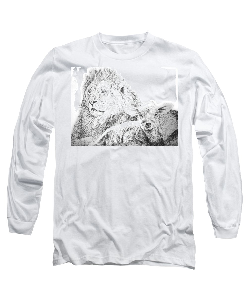 Lion Long Sleeve T-Shirt featuring the drawing The Lion And The Lamb by Bryan Bustard