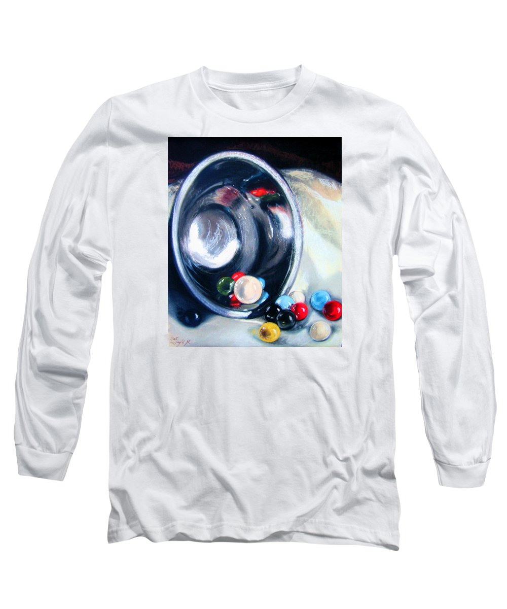 Marbles Long Sleeve T-Shirt featuring the pastel The Marble Bowl by Leyla Munteanu