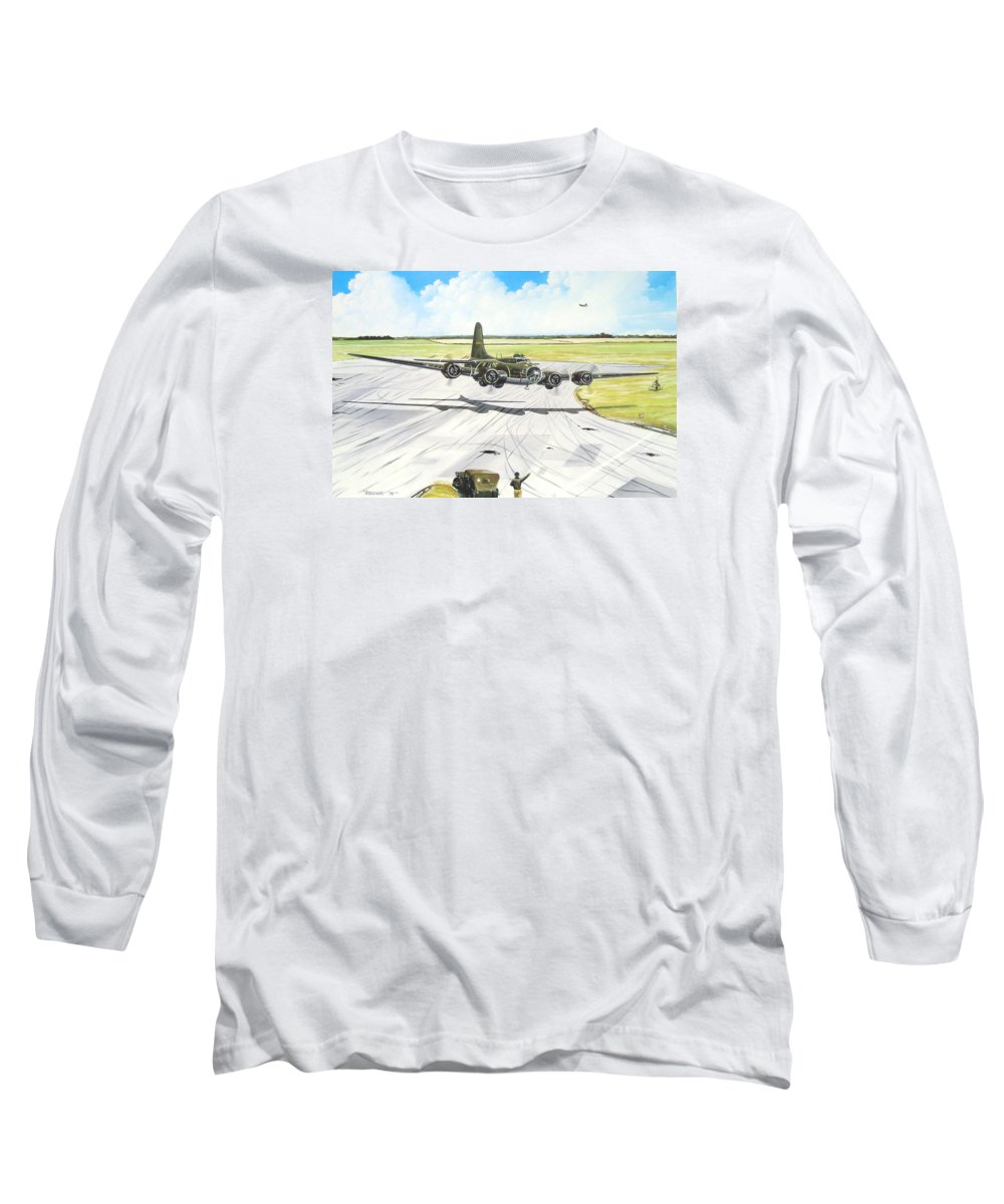Military Long Sleeve T-Shirt featuring the painting The Memphis Belle by Marc Stewart