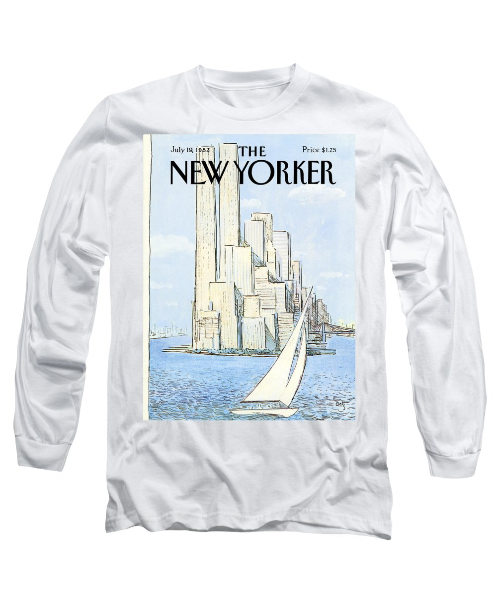 Regional Long Sleeve T-Shirt featuring the painting New Yorker July 19th, 1982 by Arthur Getz