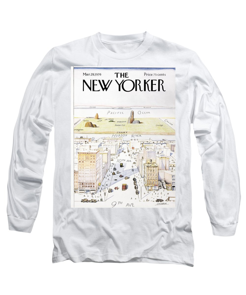 #condenastnewyorkercover Long Sleeve T-Shirt featuring the painting New Yorker March 29, 1976 by Saul Steinberg