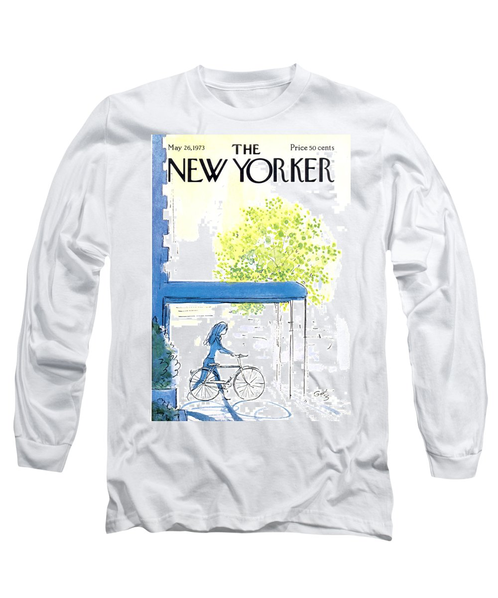 Bicycle Long Sleeve T-Shirt featuring the painting The New Yorker Cover - May 26th, 1973 by Arthur Getz