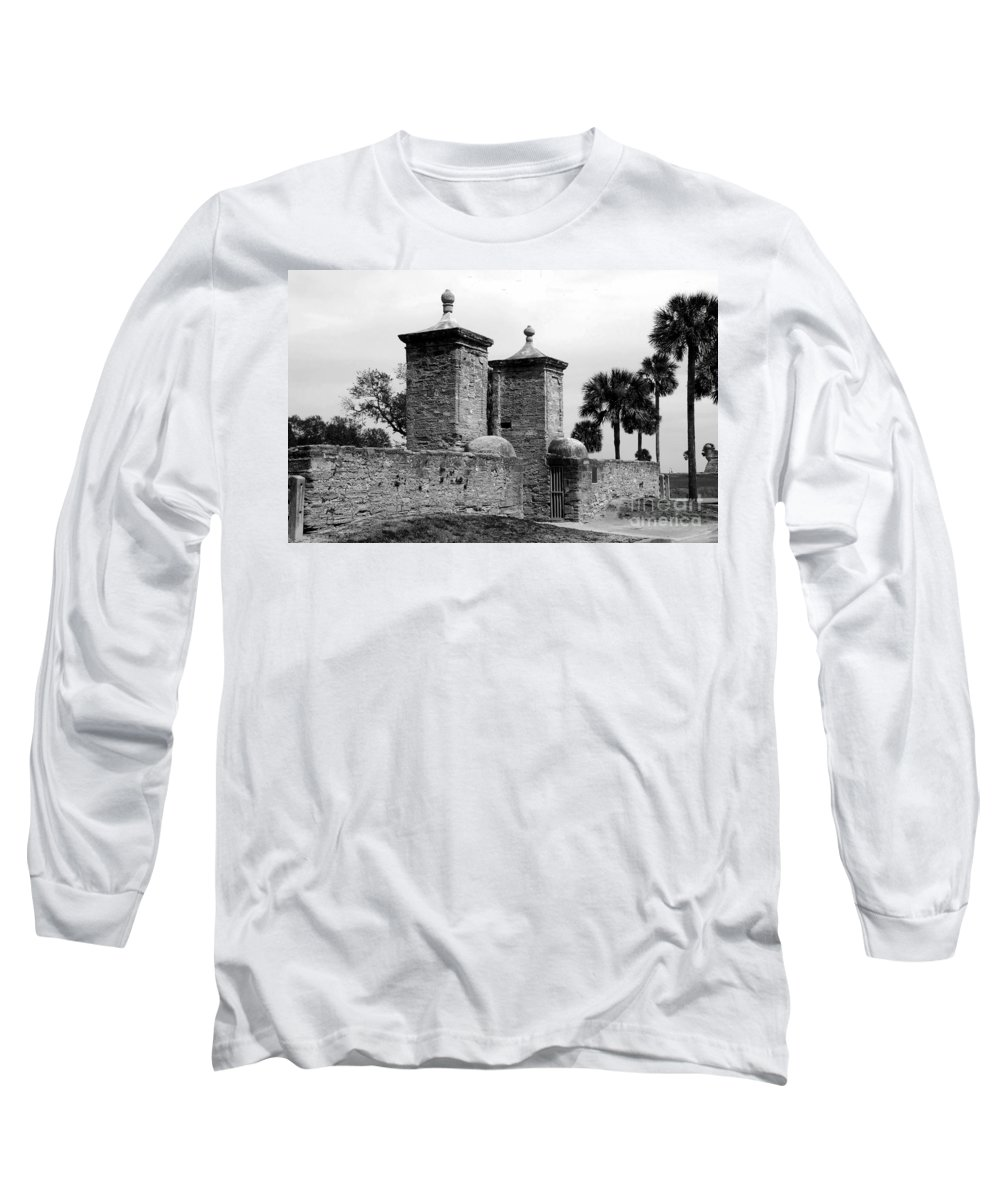 Saint Augustine Florida Long Sleeve T-Shirt featuring the photograph The Old City Gates by David Lee Thompson