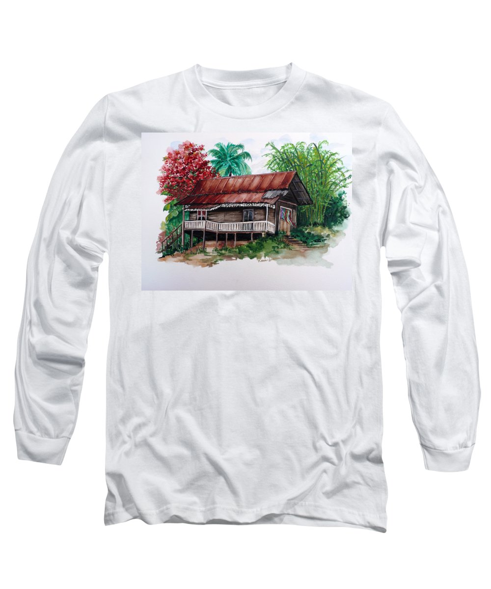 Tropical Painting Poincianna Painting Caribbean Painting Old House Painting Cocoa House Painting Trinidad And Tobago Painting  Tropical Painting Flamboyant Painting Poinciana Red Greeting Card Painting Long Sleeve T-Shirt featuring the painting The Old Cocoa House by Karin Dawn Kelshall- Best