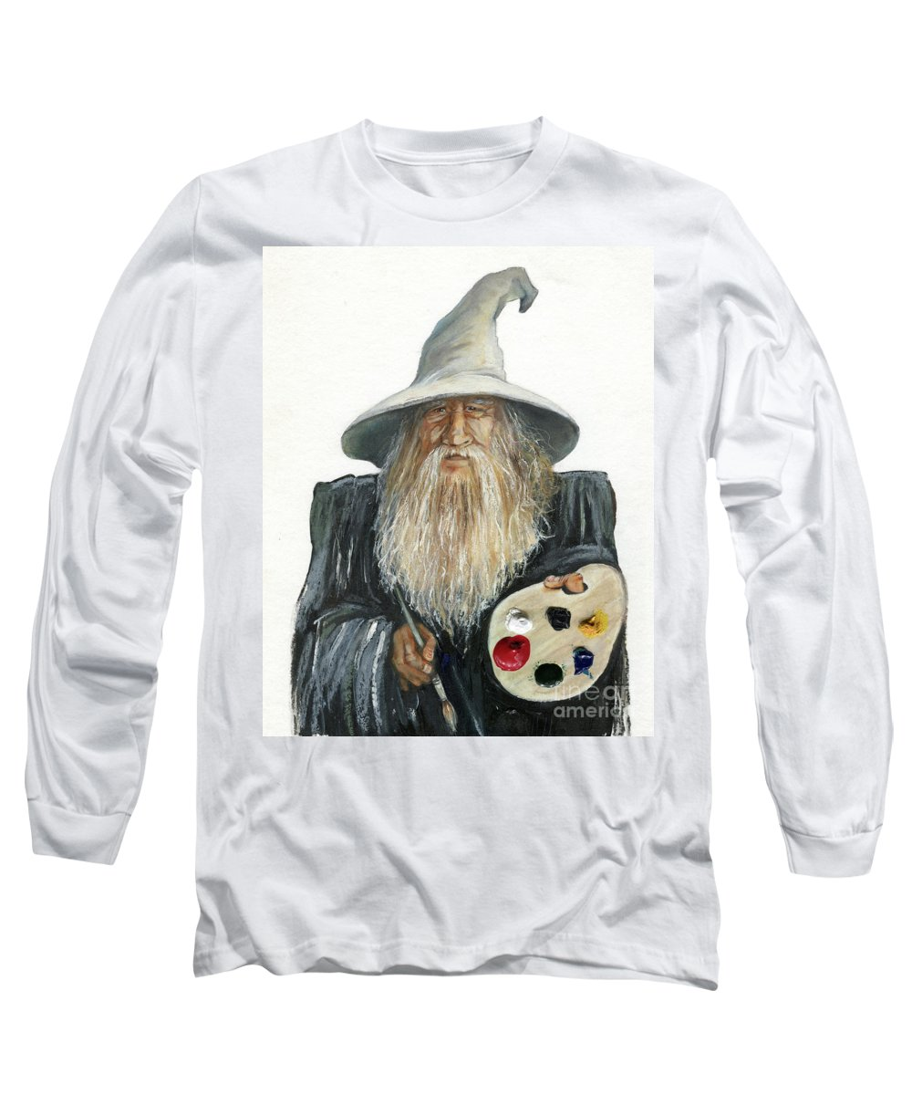 Wizard Long Sleeve T-Shirt featuring the painting The Painting Wizard by J W Baker
