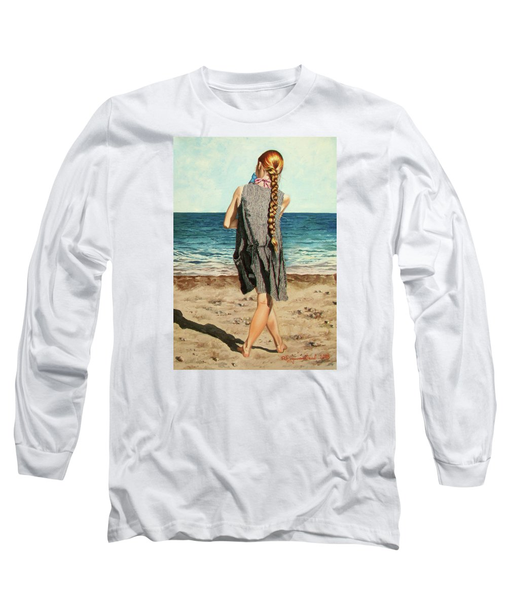 Sea Long Sleeve T-Shirt featuring the painting The Secret Beauty - La Belleza Secreta by Rezzan Erguvan-Onal