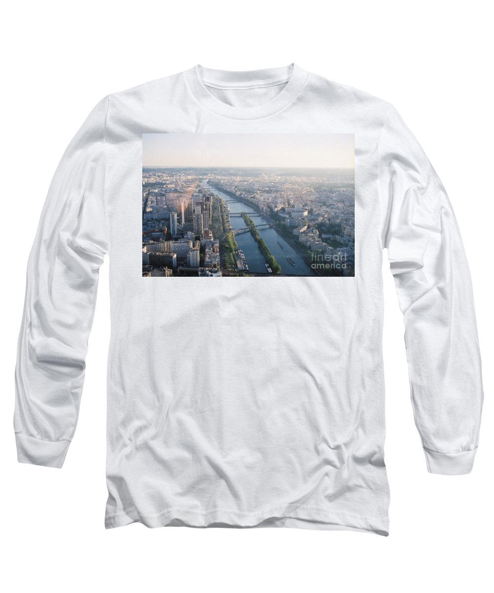 City Long Sleeve T-Shirt featuring the photograph The Seine River In Paris by Nadine Rippelmeyer