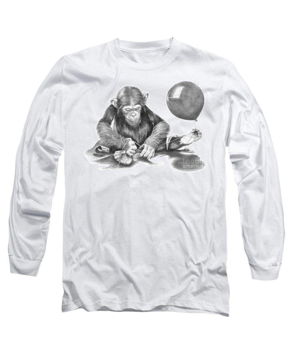 Pencil Long Sleeve T-Shirt featuring the drawing The String Theory by Murphy Elliott
