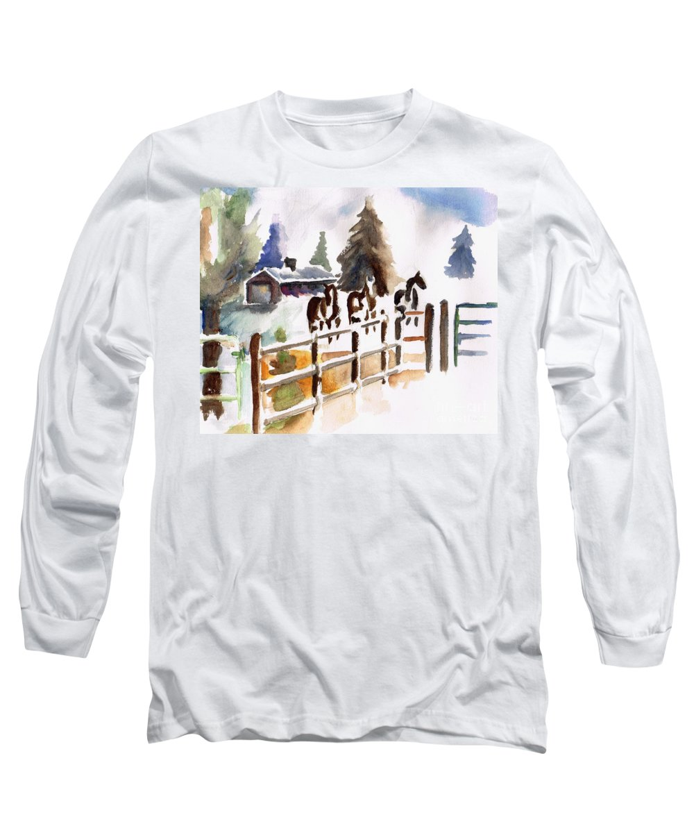 Horses Long Sleeve T-Shirt featuring the painting The Three Amigos by Frances Marino
