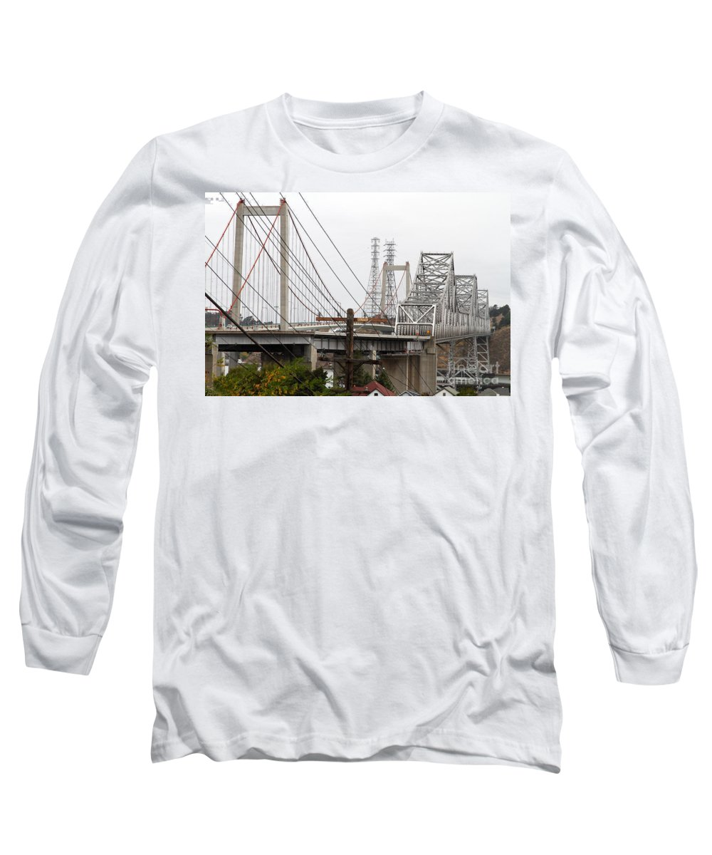 Transportation Long Sleeve T-Shirt featuring the photograph The Two Carquinez Bridges At Crockett And Vallejo California . Aka Alfred Zampa Memorial Bridge . 7d8919 by Wingsdomain Art and Photography