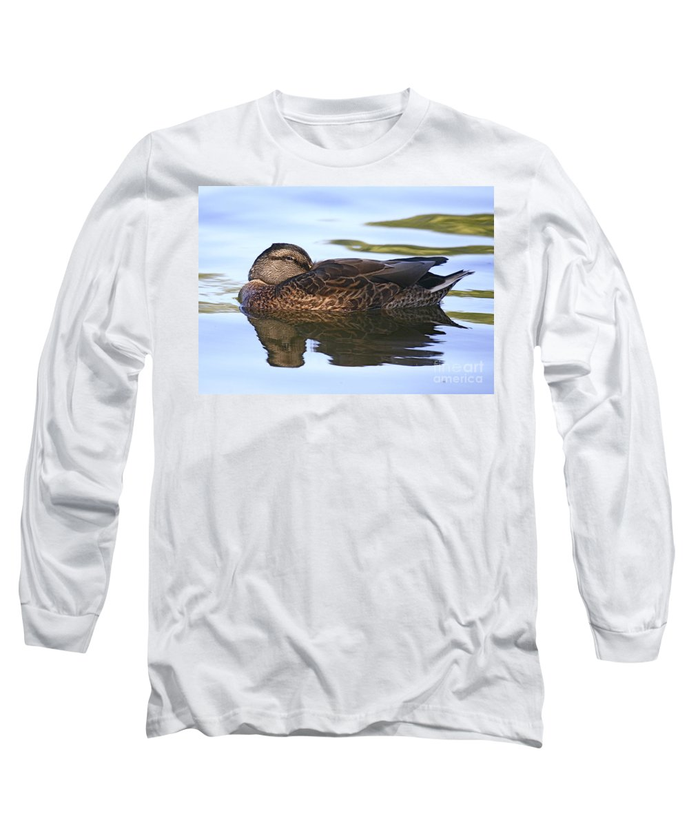 Duck Long Sleeve T-Shirt featuring the photograph The Water Bed by Robert Pearson