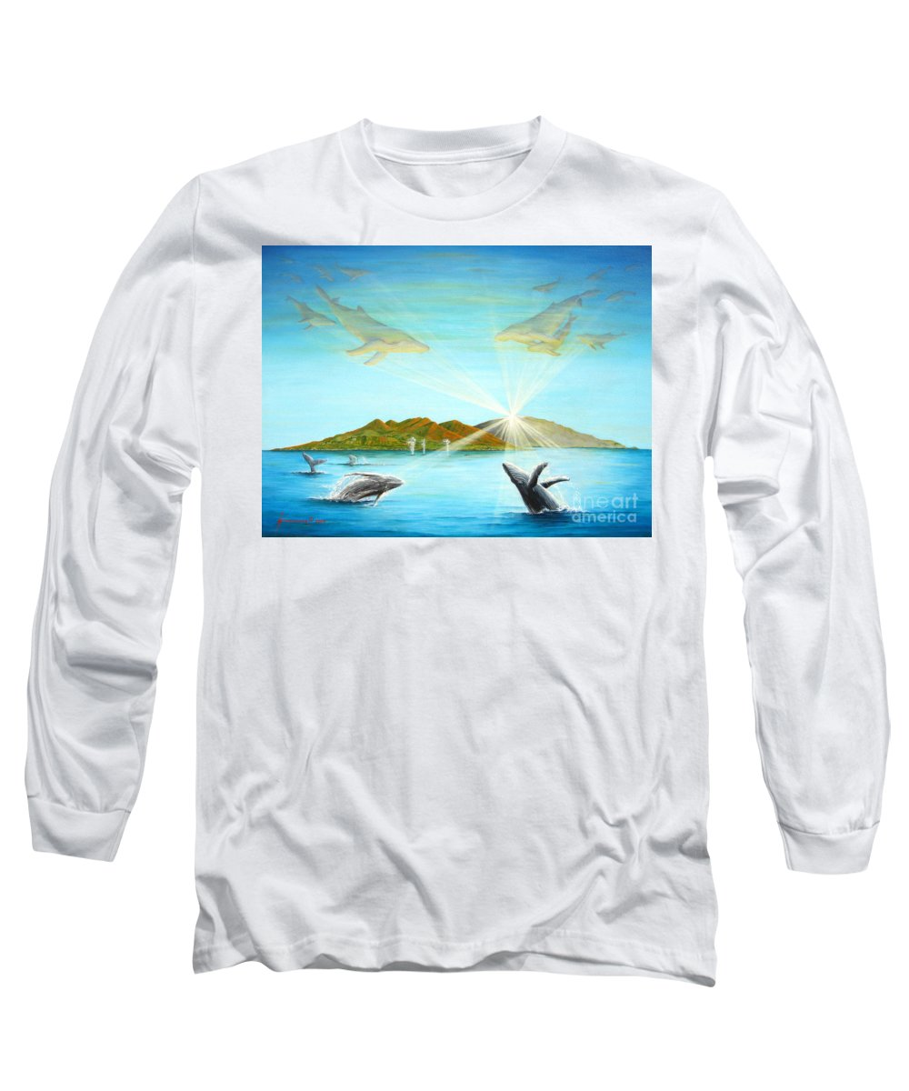 Whales Long Sleeve T-Shirt featuring the painting The Whales Of Maui by Jerome Stumphauzer