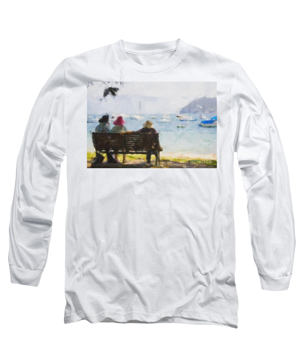 Impressionism Impressionist Water Boats Three Ladies Seat Long Sleeve T-Shirt featuring the photograph Three Ladies by Avalon Fine Art Photography
