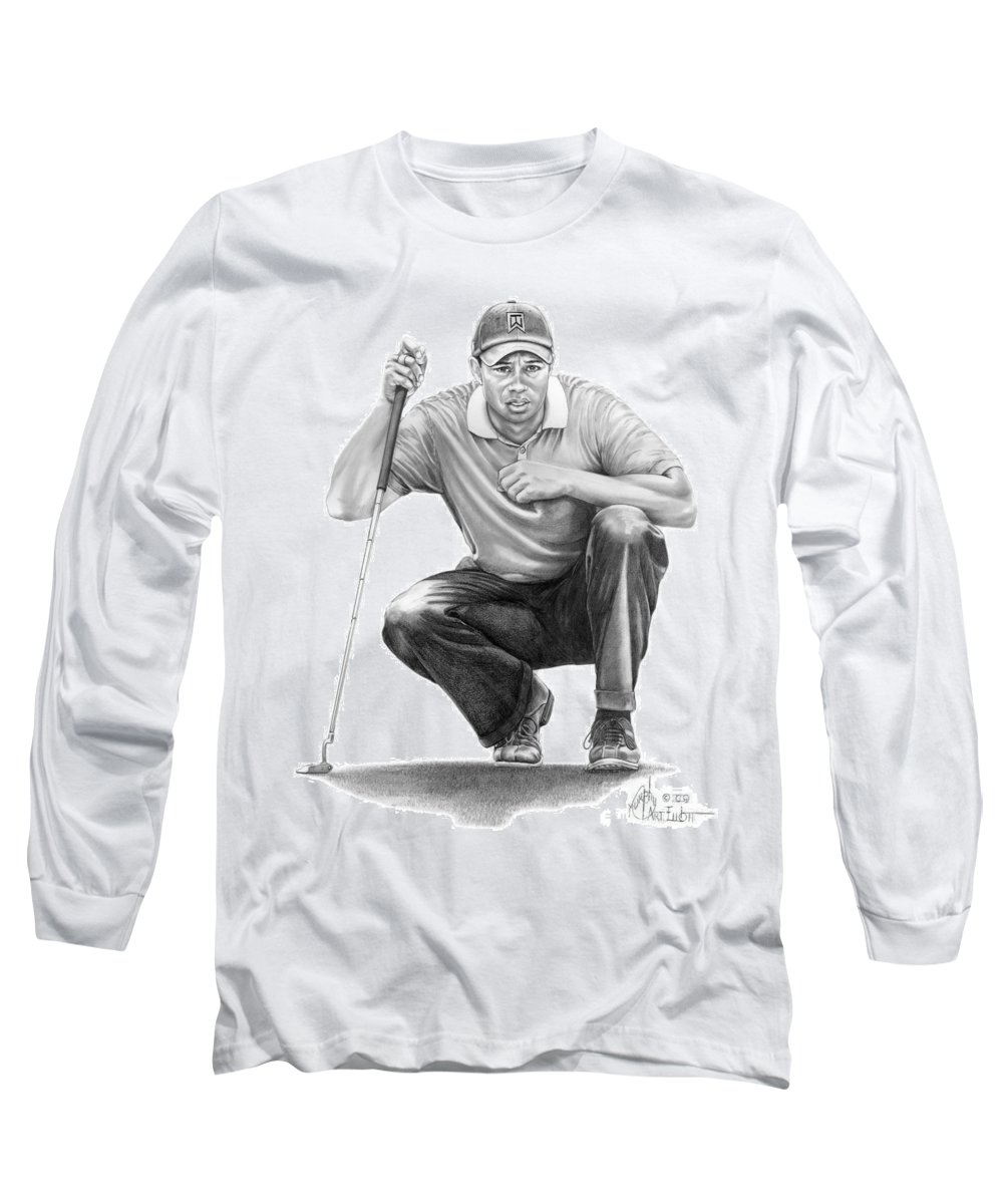 Pencil Long Sleeve T-Shirt featuring the drawing Tiger Woods Crouching Tiger by Murphy Elliott
