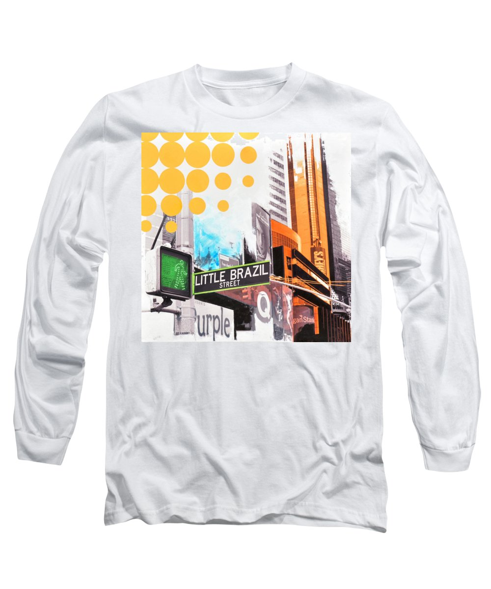Ny Long Sleeve T-Shirt featuring the painting Times Square Little Brazil by Jean Pierre Rousselet