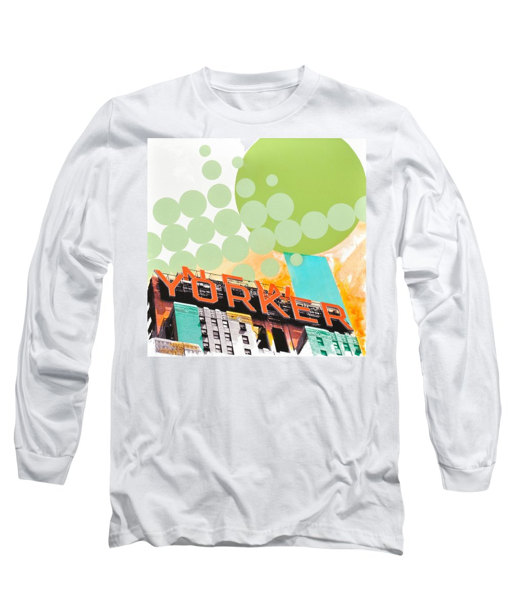 Ny Long Sleeve T-Shirt featuring the painting Times Square New Yorker by Jean Pierre Rousselet