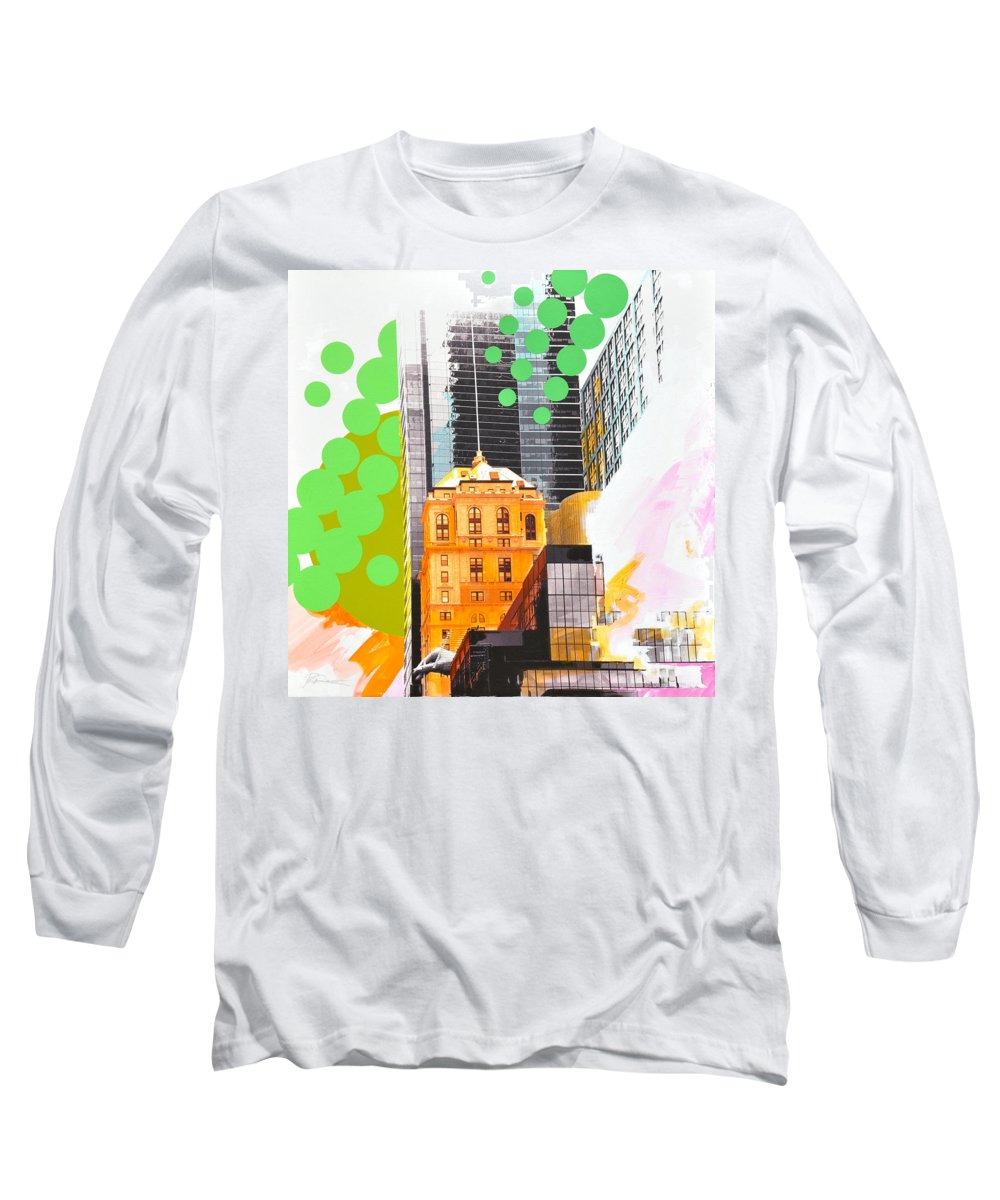 Ny Long Sleeve T-Shirt featuring the painting Times Square Ny Advertise by Jean Pierre Rousselet