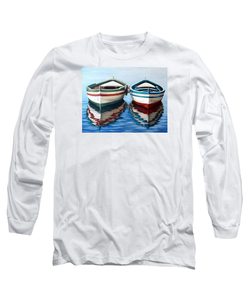 Seascape Sea Boat Reflection Water Ocean Long Sleeve T-Shirt featuring the painting Together by Natalia Tejera