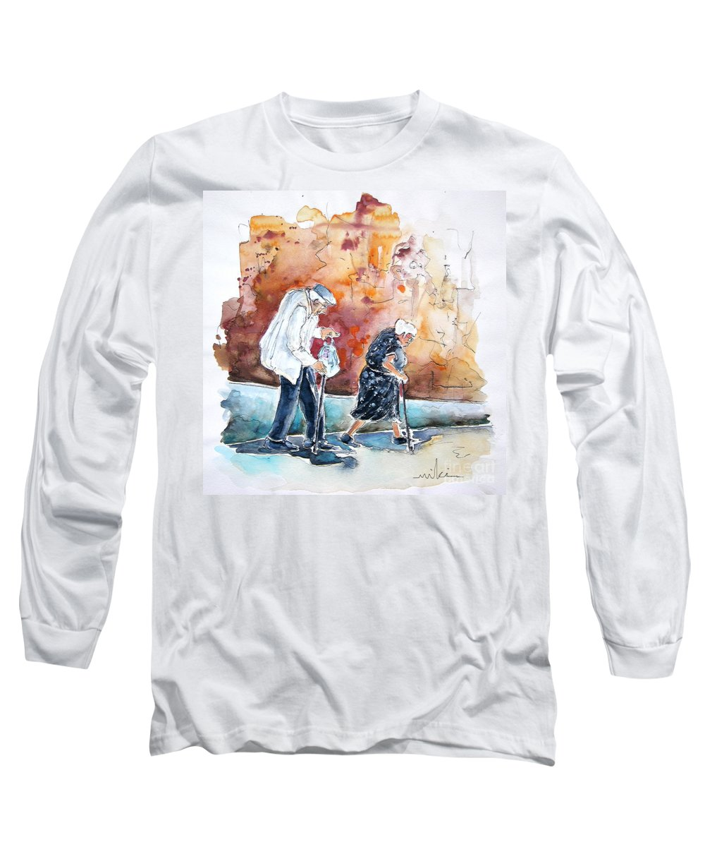 Portugal Paintings Long Sleeve T-Shirt featuring the painting Together Old In Portugal 01 by Miki De Goodaboom