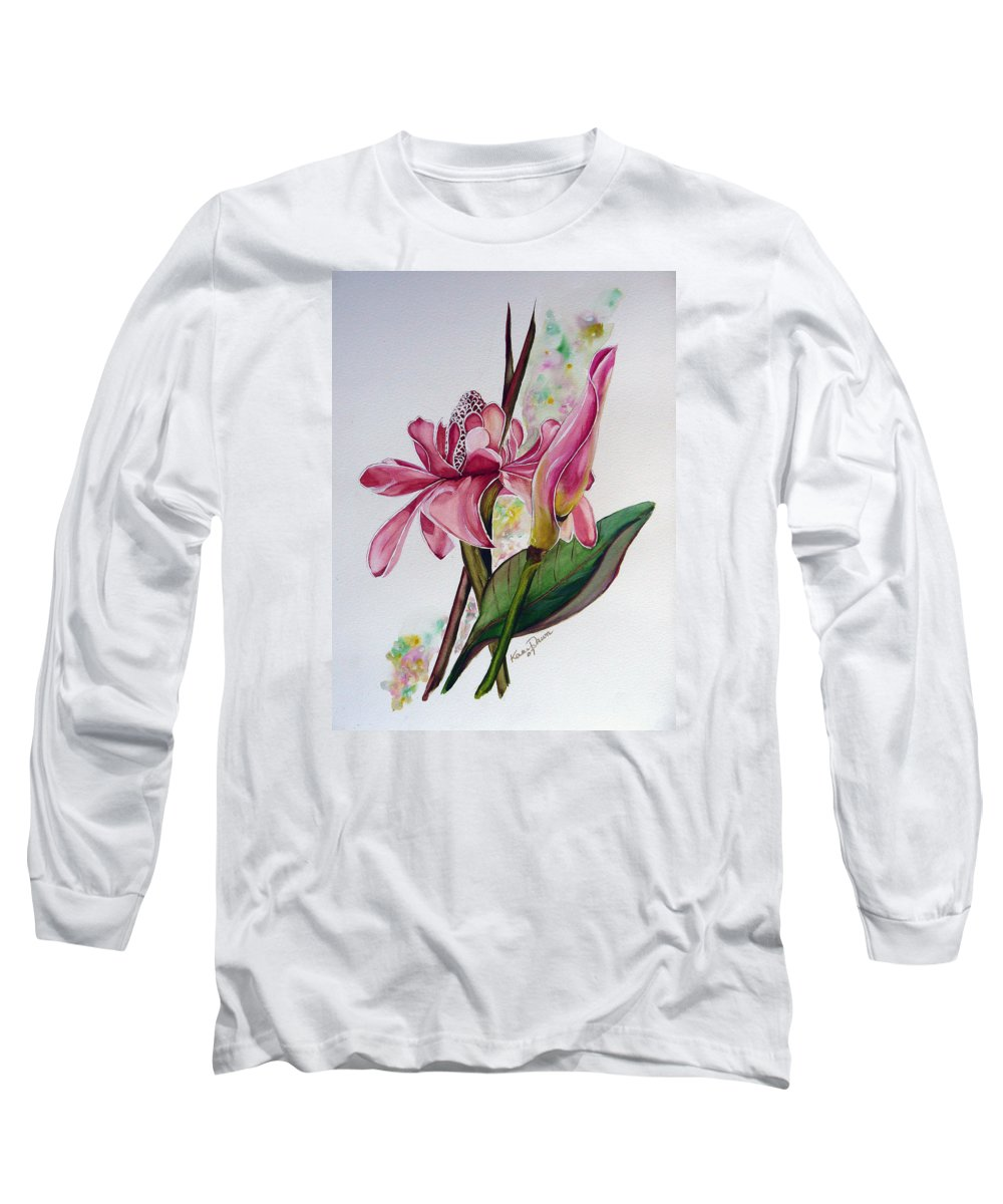 Flower Painting Floral Painting Botanical Painting Flowering Ginger. Long Sleeve T-Shirt featuring the painting Torch Ginger Lily by Karin Dawn Kelshall- Best