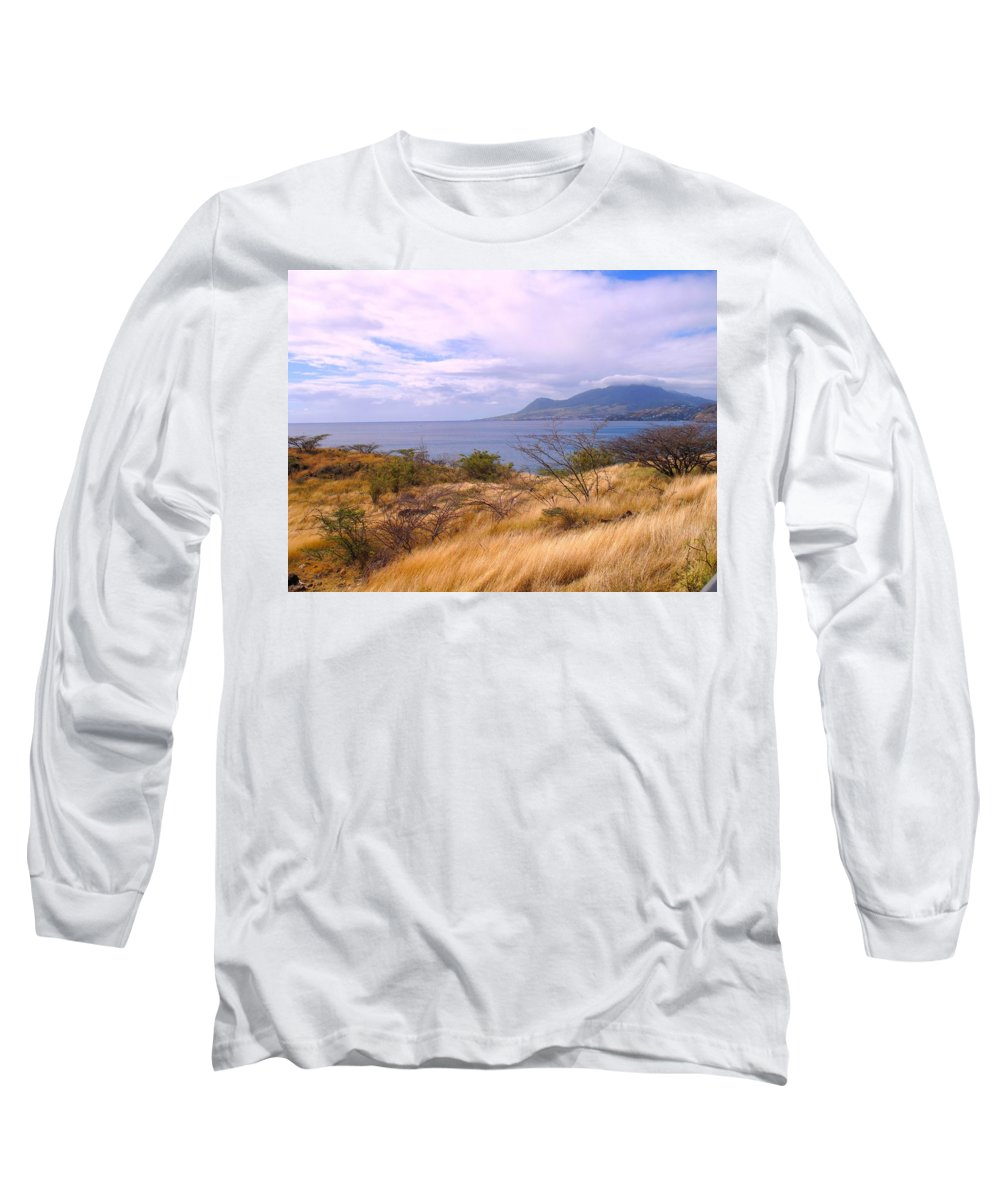St Kitts Long Sleeve T-Shirt featuring the photograph Towards Basseterre by Ian MacDonald