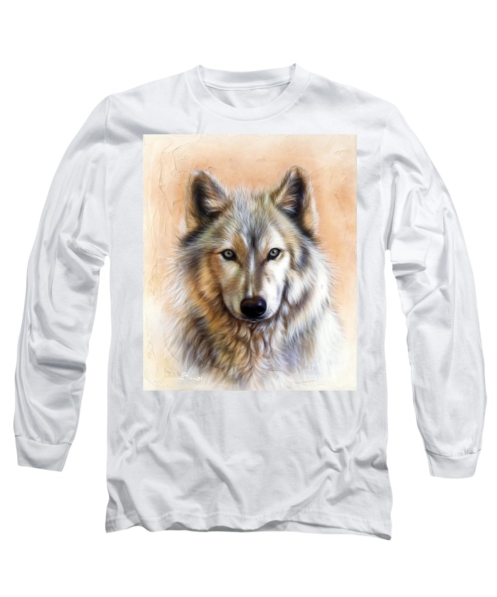 Wolves Long Sleeve T-Shirt featuring the painting Trace Two by Sandi Baker