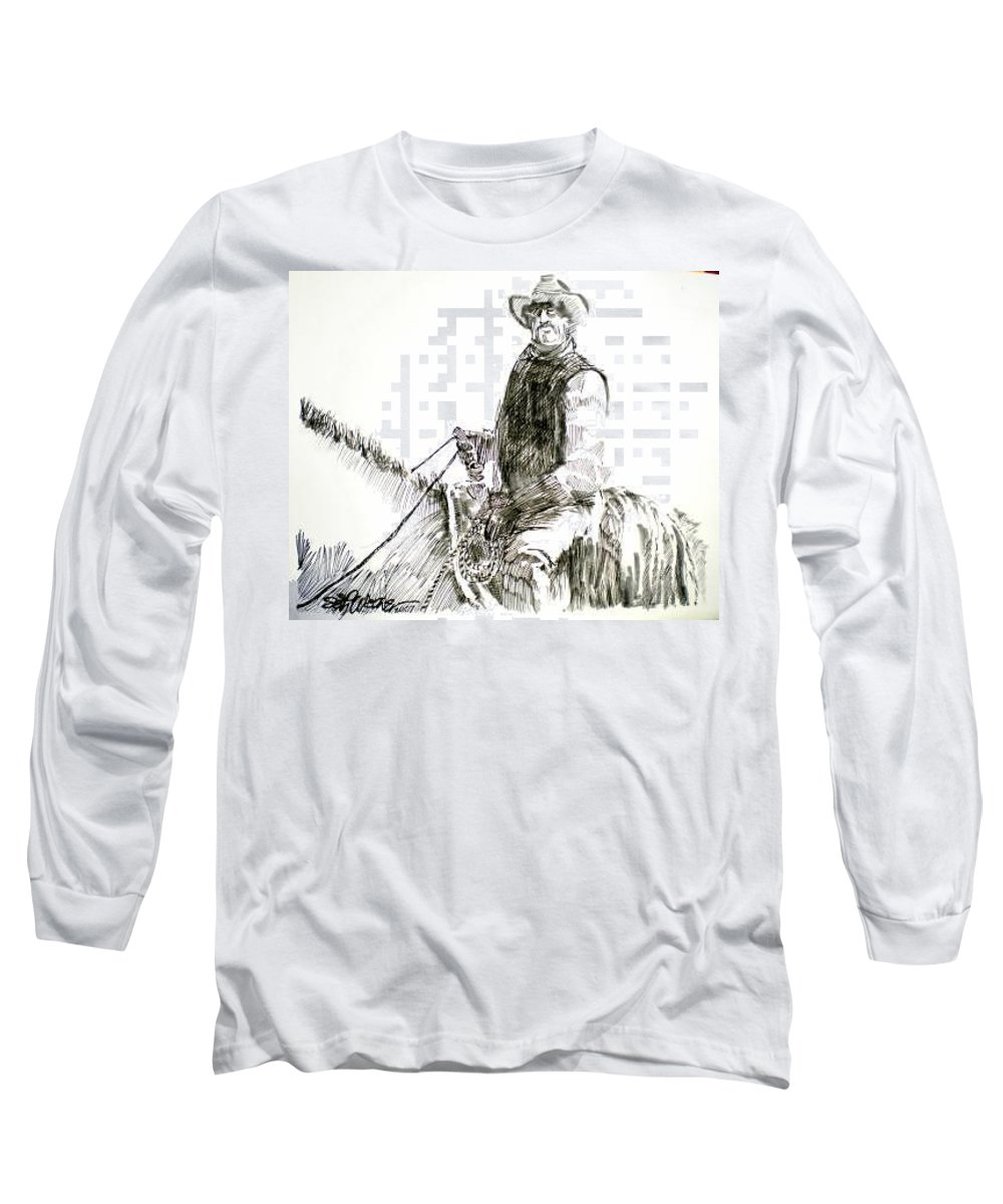 Trail Boss Long Sleeve T-Shirt featuring the drawing Trail Boss by Seth Weaver