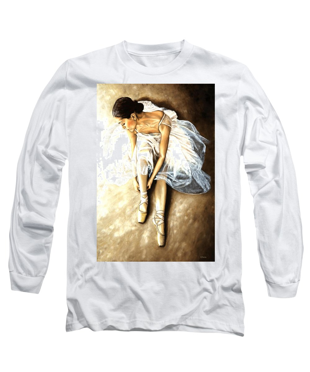 Ballet Long Sleeve T-Shirt featuring the painting Tranquil Preparation by Richard Young