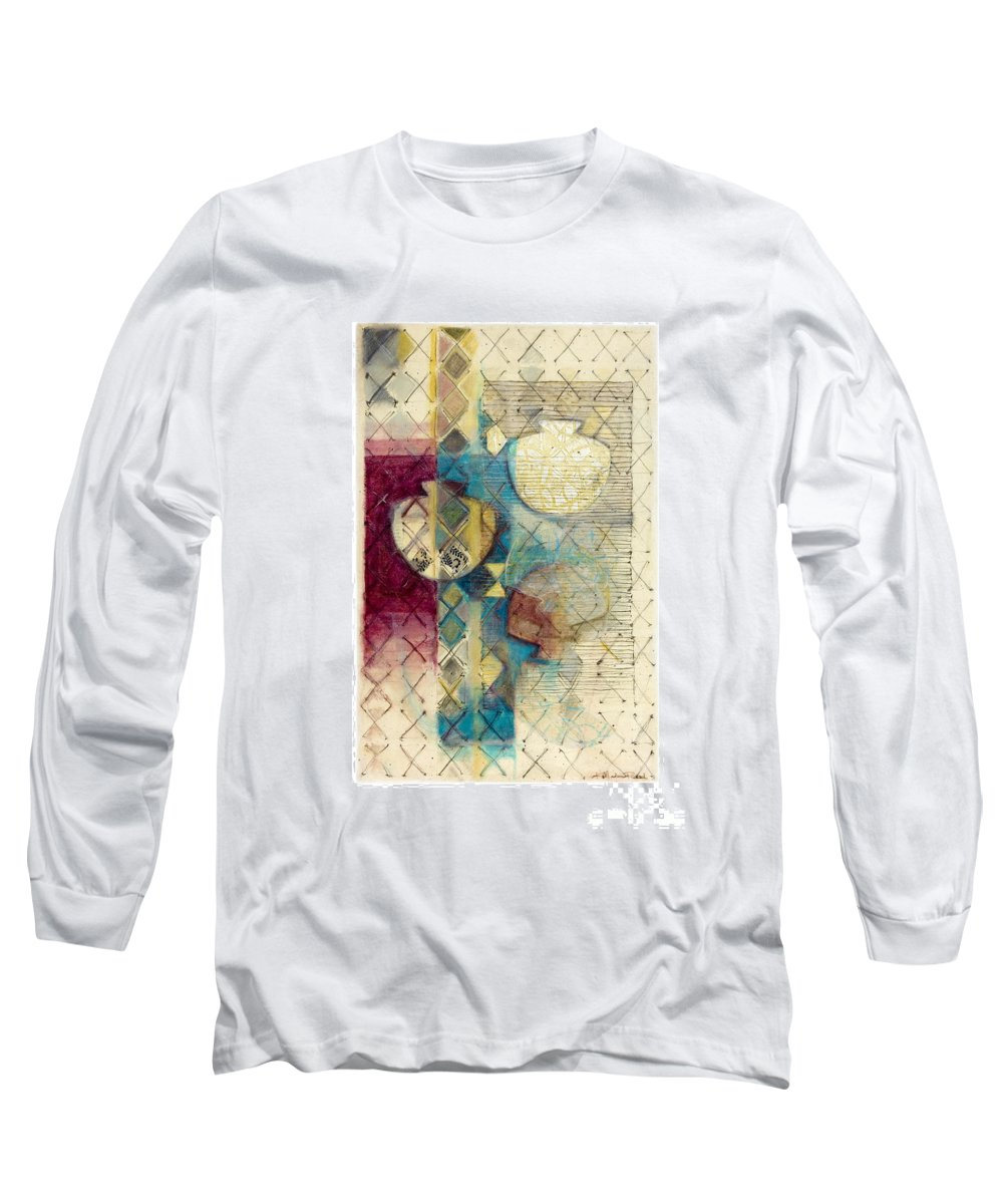 Mixed-media Long Sleeve T-Shirt featuring the painting Trans Xs No 1 by Kerryn Madsen- Pietsch