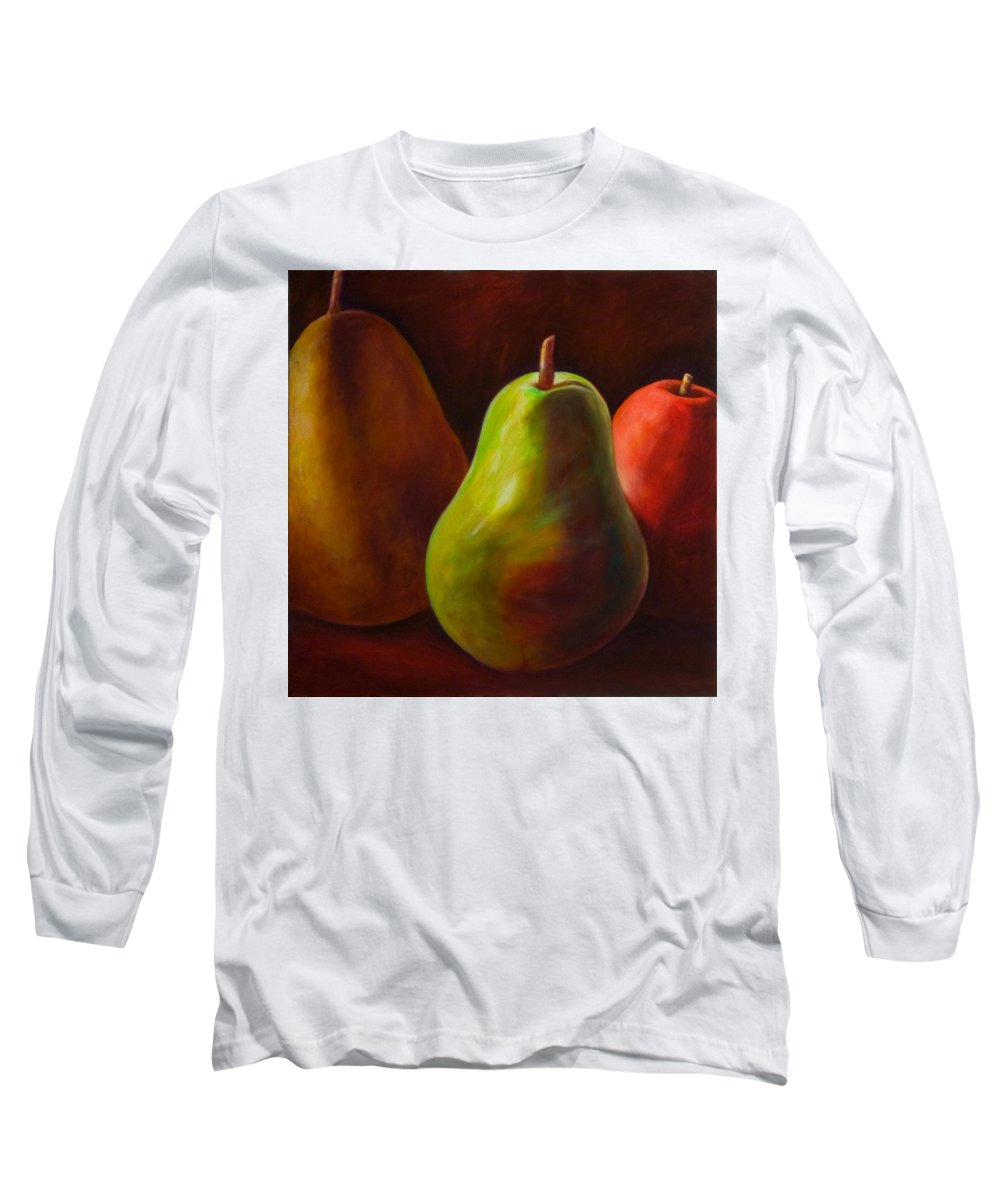 Fruit Long Sleeve T-Shirt featuring the painting Tri Pear by Shannon Grissom