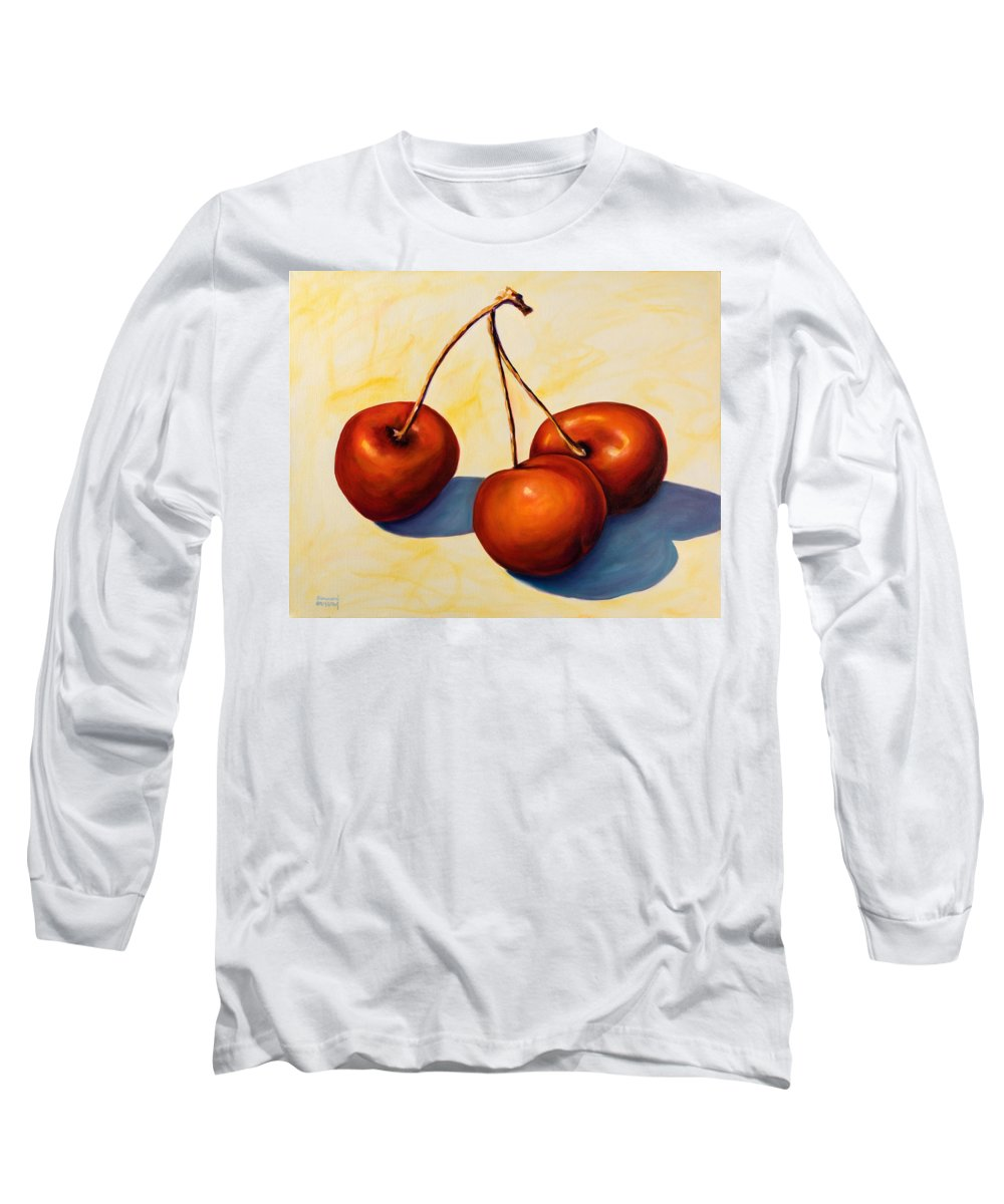 Cherries Long Sleeve T-Shirt featuring the painting Trilogy by Shannon Grissom