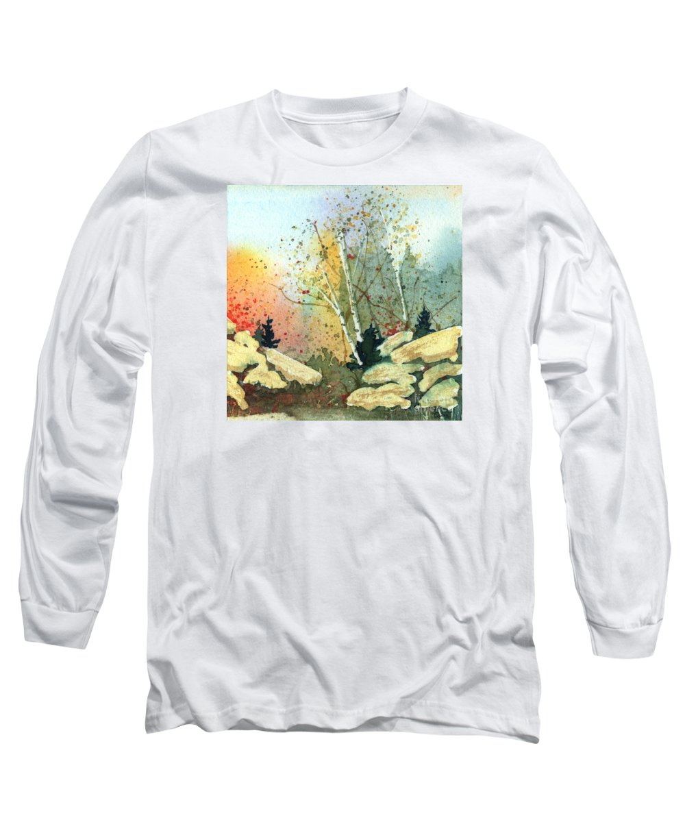 Landscape Long Sleeve T-Shirt featuring the painting Triptych Panel 3 by Lynn Quinn